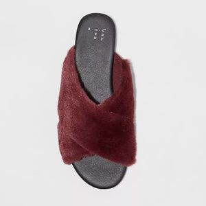 NWT A New Day Dark Red Furry Slide Sandals 10